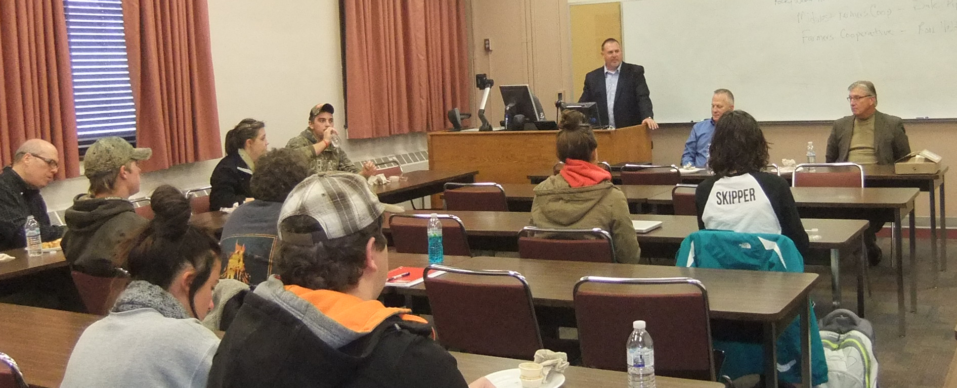 Attorney Rocky Weber (standing at podium) teaches the first cooperatives class offered at UNL